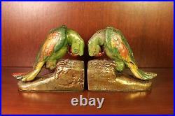 1920s Parrot Bird Bookends 5 LBS Antique Art Deco Book End Armor Bronze Rare