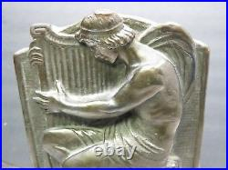 1922 Armor Bronze Book Ends Greek Angel Harp Male Man Art Deco