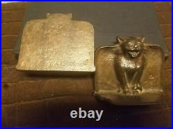 1925 Arts and Crafts D. A. L. Bronzed Cat Bookends, Hard to find