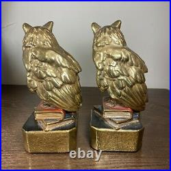 1925 Marion Bronze Large Owl SItting On Books Bookends Art Deco Rare Vintage