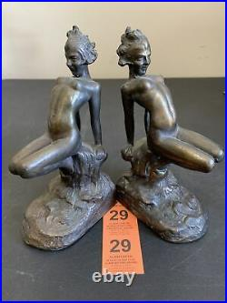 1927 Us Armor Bronze Nude Woman Lady Art Deco Statue Sculpture Book Bookends