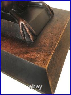 1930s Art Deco Hard Wood Hand Carved Marabou Stork Bookends Brienz Black Forest