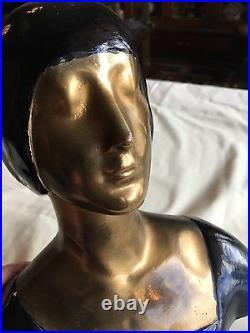 ANTIQUE ART DECO LADY BUST HEAD MASK STATUE SCULPTURE Original Nice