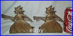 ANTIQUE BRONZE BRASS WITCH LADY with BROOM HALLOWEEN ART STATUE SCULPTURE BOOKENDS