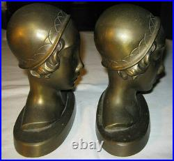 ANTIQUE FRANKART ART DECO LADY BUST HEAD w HAT STATUE SCULPTURE BOOK BOOKENDS NY
