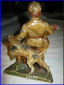 ANTIQUE USA HUBLEY SPORT HUNTING MAN DOG with SHOTGUN CAST IRON BOOKEND ART STATUE