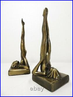 ART DECO Frankart NUDE NYMPH FLAPPER GIRL BOOKENDS Sculpture VTG Lamp Base