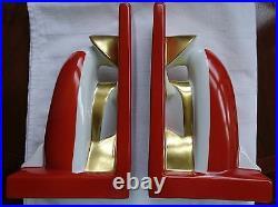 ART Deco design ROBJ set of BOOKENDS. BURNT RED GOLD