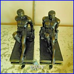 ATQ. 1920s PAIR FRENCH NUDE MALE BRONZE BOOKENDS / LE VERRIER FRENCH STYLE