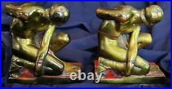 ATQ Art Deco Pr Pompeian Bronze Bookends Hercules Hand Painted Original Patina