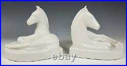 Abingdon Pottery Pair White Reclining Colt Horse Bookends Vintage Art Deco Rare