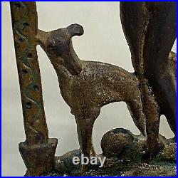 Antique 1920's Art Deco Nude Lady Greyhounds Bookends cast iron Gold Paint Vtg