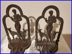 Antique 1920's Art Deco Nude with Greyhounds Bookends cast iron with brass