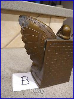 Antique 1920s Art Deco Nouveau Butterfly Girl Flapper Girl Metal Bookends