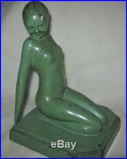 Antique 1927 Frankart Inc. Us Art Deco Nude Lady Woman Statue Sculpture Bookends