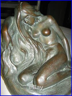 Antique 1928 F. Johnson Art Deco Nude Lady Bronze Clad Art Statue 10 Lb Bookends