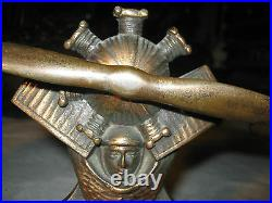 Antique 5 1/2 Lbs Solid Cast Iron Airplane Engine Propeller Pilot Art Bookends