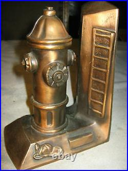 Antique 7 Lbs Fire Hydrant Man Truck Axe Pick Helmet Ladder Art Copper Bookends