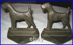 Antique Airedale Terrier Dog Bookends Cast Iron Art Deco Sculpture Book Ends