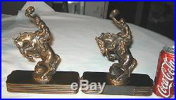 Antique American Cowboy On Horse Rodeo Art Statue Sculpture Dodge Metal Bookends