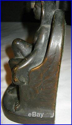 Antique Armor Bronze Clad Egyptian Revival Art Deco Lady Nude Sculpture Bookends