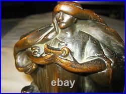 Antique Armor Bronze Clad School Nude Lady Bust Art Statue Sculpture Bookends