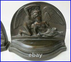 Antique Art Deco Angel & Fairy or Greek Mythology Bronze Finish Bookends # 511