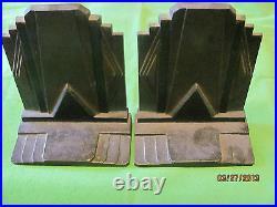 Antique Art Deco Bradley Hubbard Cast Iron Lg Building Desk Bookends