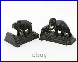 Antique Art Deco Bronze Indian Elephant Bookends 2-Piece Set 7.5 L x 5 W x 5T