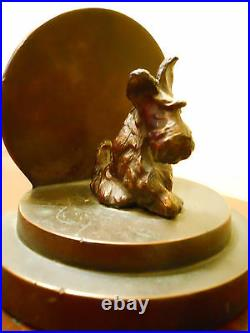 Antique Art Deco Bronze Scottish Terrier Scottie Dog Bookend Architectural Circl