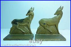 Antique Art Deco Cast Iron Antelope Deer Bookends original old gold book ends