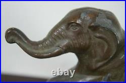 Antique Art Deco Cast Metal Circus Elephant Library Bookends Bronzed Lucky Book
