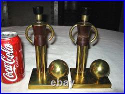 Antique Art Deco Chase Brass Sentinel War Soldier Bakelite Statue Bookends Tool