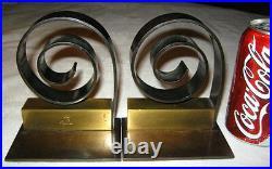 Antique Art Deco Chase Industrial Bronze Brass Art Statue Sculpture Bookends