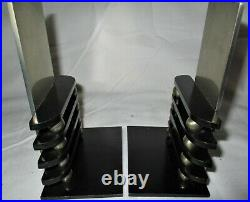 Antique Art Deco Chase USA Chrome Machine Octaball Bookends Modern MID Century