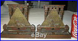 Antique Art Deco Cjo Judd Egyptian Sphinx Pyramid Cast Iron Statue 7 Lb Bookends