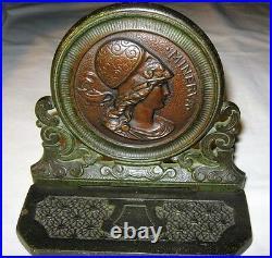 Antique Art Deco Cjo Judd Us Cast Iron Lady Bust Minerva Goddess Statue Bookends