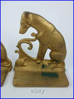 Antique Art Deco Dog &Turtle Greyhound Whippet Cast Iron Bookends Brass Tone