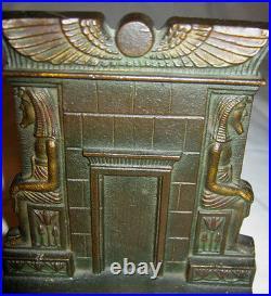 Antique Art Deco Egyptian Revival Bradley Hubbard Cast Iron Tomb Statue Bookends