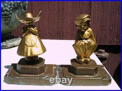 Antique Art Deco Frankart Bookends Girl Dress Boy Dutch Hat Statue Book Ends Toy
