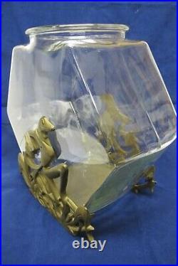 Antique Art Deco Frankart Cast Iron Fish Bowl Stand/Book EndswithTankFrog1920s
