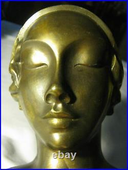 Antique Art Deco Frankart USA Nude Lady Bust Head Mask Statue Sculpture Bookend