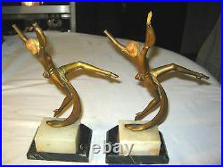 Antique Art Deco Hirsch Dancing Lady Gerdago Statue Sculpture Marble Bookends