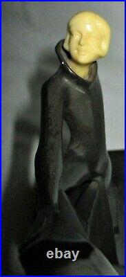Antique Art Deco Hirsch Dancing Lady Gerdago Statue Sculpture Metal USA Bookends
