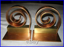 Antique Art Deco Industrial Chase Bookends Modern Copper Brass Book Tool Ends Ny