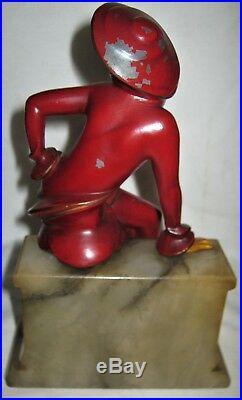 Antique Art Deco Jb Hirsch Sophisticated Lady Woman Statue Sculplture Bookends