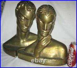 Antique Art Deco Lg Frankart Era Bronze Clad Nude Lady Statue Sculpture Bookends