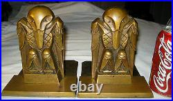 Antique Art Deco Machine Age Bronze Rook Phoenix Bird Statue Sculpture Bookends