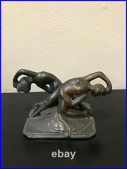 Antique Art Deco Metal Bronze Female Dancer Bookends