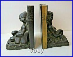 Antique Art Deco Nouveau 1920s Ronson Fairy Cherub & Butterfly Metal Bookends